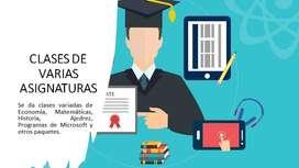 Clases de Economía, Microeconomía, Macroeconomía, Matemática, Ajedrez, Historia, Estadística descriptiva, Uso de Excel.