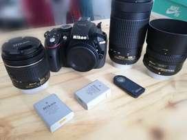 TODO NUEVO Nikon d5300 c/lente kit + Nikkor 50mm 1.8G + 70-300 VR + ENEL-14a + disparador