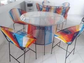 Fabrico muebles, sillas normales, sillas tipo barra, mesas, sillones, mecedoras.