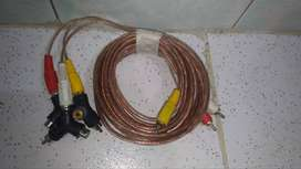 Cable De Video Rca 3x3 Estereo Auxiliar Macho 3x3 Av de 7 metros y adaptadores