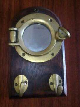 Porta Llaves Nautico bronce escotilla espejo con abertura Alta Calidad. 25x 1