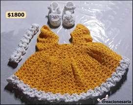 Vestido tejido con zapatos y vincha a juego antialérgico para bebés