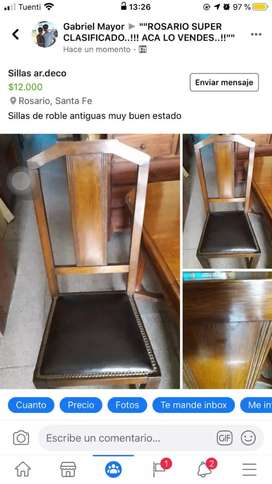 Seis sillas de roble