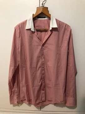 Camisa Tascani Rosa manga larga