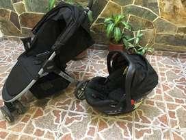Coche Britax B 35 + Silla porta bebe AU (Color negro).