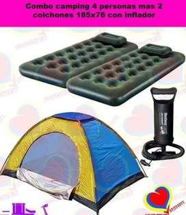 Kit camping carpa y colchones 4personas