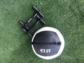 Wall Ball 15lb - Regalo: 2 soportes para flexiones de pecho