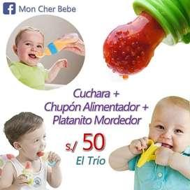 Cuchara biberón + Chupón alimentador + Platanito mordedor