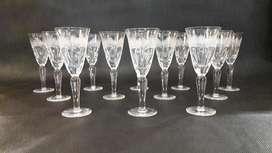 Juego De 12 Copas Cristal Talladas. *2158