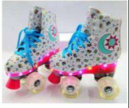 Patines Cuatro Ruedas Roller Power Girl Con Luces Niña