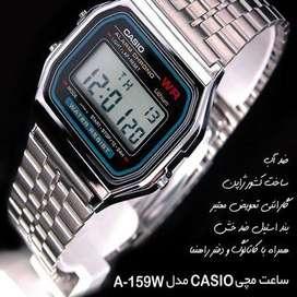 reloj digital CASIO de acero resistente al agua,alarma,luz,cronometro