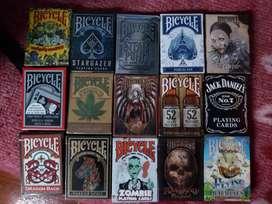 vendo lote de 15 masos de cartas BICYCLE