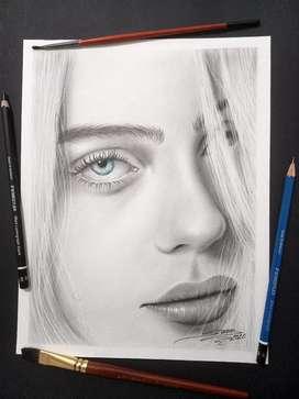 Retratos Y Dibujos a Lápiz, Carboncillo y Color