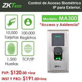 Control de Acceso Biométrico MA300 ZKTeco IP para Exterior.