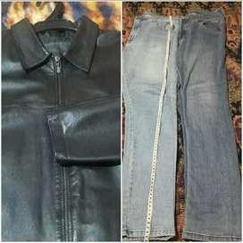 Casaca de cuero más 2 pantalones