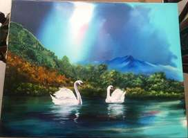 Cuadro Cisnes en obra lienzo