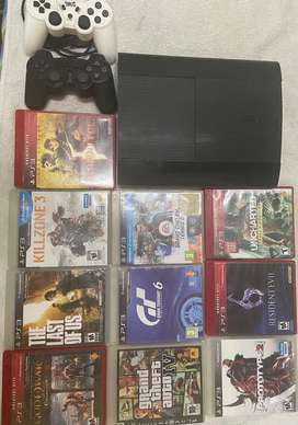 Playstation 3 Ps3 Slim + 2 Joysticks + 7 Juegos + Cables