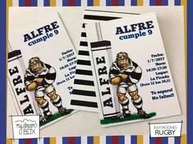 Souvenir Tarjetas Invitacion Rugby Cumple Infantil Evento Personalizada