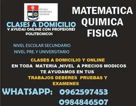 CLASES SER BACHILLER  MATEMATICA FISICA QUIMICA usfq sanfrancisco