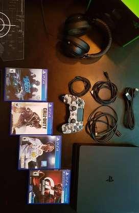 COMBO!! PlayStation 4 1TB, con 1 joystick y 4 juegos fisicos + Auriculares Razer Kraken Pro v2