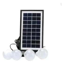 Kit Panel Solar +4 Bombillos+Batería+Linterna Carga Celulares