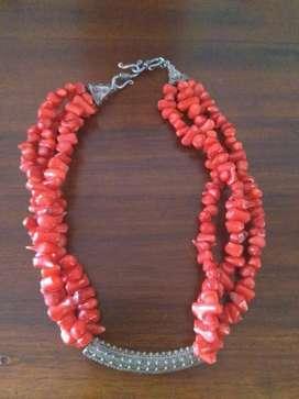 Coral Rojo Y Plata Collar Antiguo Hermos