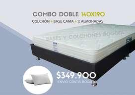 Promoción combo doble Colchón Ortopédico + base cama dividida + 2 almohadas  +  envío en Bogotá.