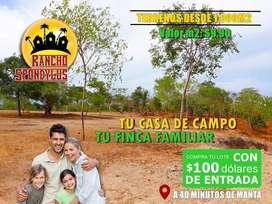 TERRENOS DESDE 1000M2 PARA SU CASA DE CAMPO / CON 100USD DE ENTRADA Y CRÉDITO DIRECTO / SD2