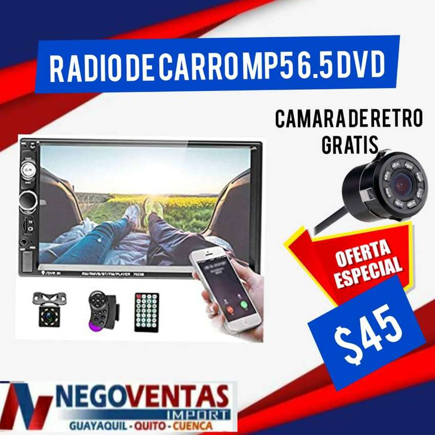 RADIO DE CARRO DOBLE DIN MP5 MAS CAMARA DE RETRO GRATIS