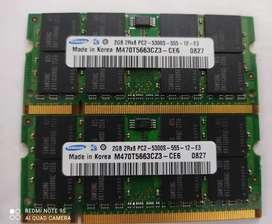 Memorias DDR2 de 2 Gigas para Portátil