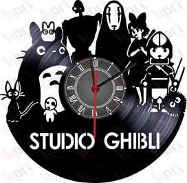 Reloj en disco vinilo LP / vinyl clock Studio Ghibli totoro