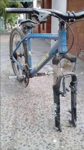 Cuadro de bici y rueda trasera