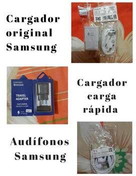 Cargadores, audífonos Samsung y para iphone originales
