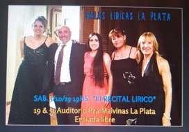 Clases profesionales de canto lirico  La Plata