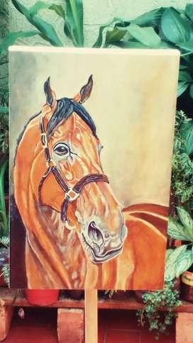 Pintura al óleo caballo