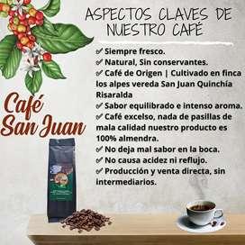 CAFÉ SUAVE DE AROMA Y SABOR 100% COLOMBIANO, DE QUINCHIA RISARALDA