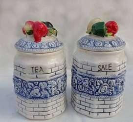 Recipiente Tarro Cerámica Vintage para Sal y Te