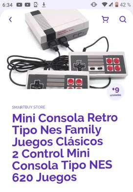 Mini consola retro  tipo nes family juegos clásicos,2 controles,620 juegos