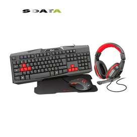 COMBO Teclado + mouse + audífonos + pad mouse