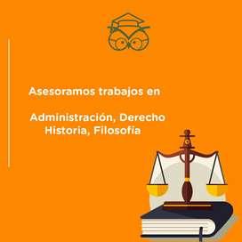 En talleres y trabajos de administración, derecho, historia, filosofía, ofrecemos tutorías, ensayos, tesis, calculo,..