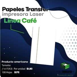Papel trasfer Linea cafe para claro impresora a laser, local All transfer