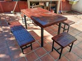 mesa y bancos para quincho