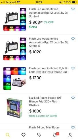 Flash Led Audioritmico Automatico Rgb 12 Leds 3w Dj Strobe