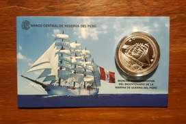 Moneda de Plata Bicentenario de La Marina de Guerra del Perú 2021