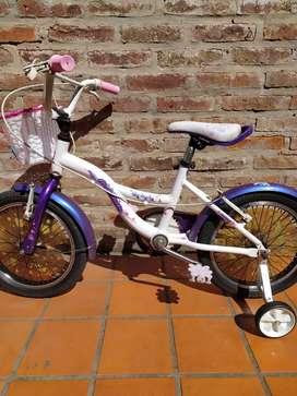 Bicicleta de niña rodado 16 Raleigh Lil Honey con canasta y rueditas
