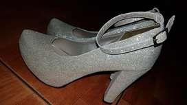 Zapatos Dorados Plataforma Tacón 10 Cm