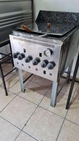 Freidora Industrial a Gas 30Lit. (PERFECTO ESTADO) con 2 canastos