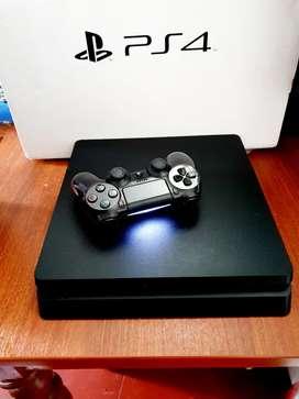 PS4 de 500 gigas es  Slim con sello de garantía + 10 juegos virtuales un mando