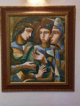 Oleo sobre lienzo, Arlequines, W Mirkin