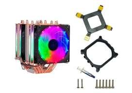 disipador INTEL Fan Cooler Doble Rgb Intel Y Amd 6 Tubos Ventilador Pc Luz